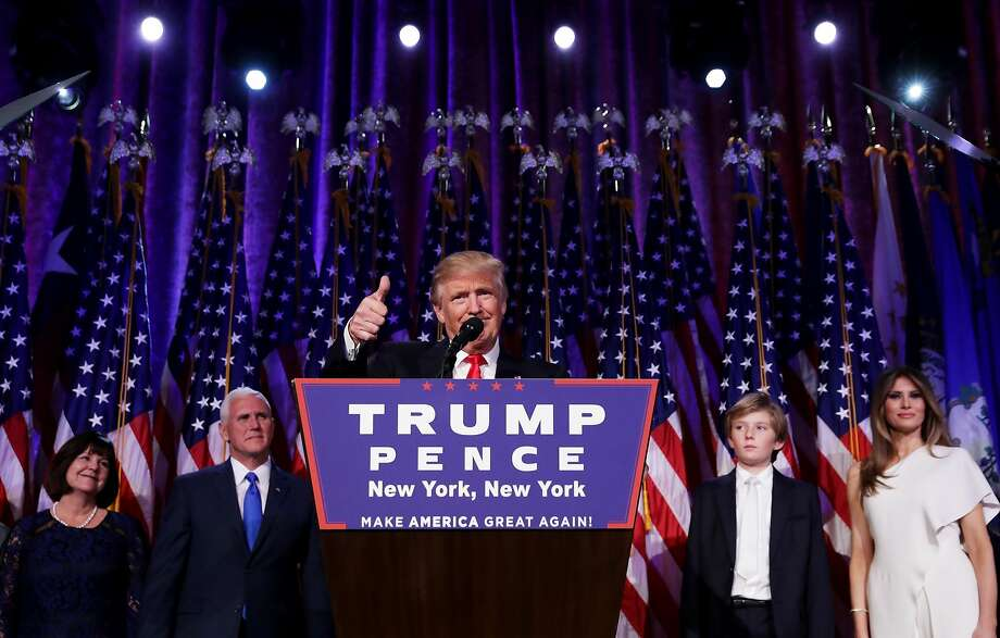 NEW YORK, NY - NOVEMBER 09:  Republican president-elect Donald Trump delivers his acceptance speech during his election night event at the New York Hilton Midtown in the early morning hours of November 9, 2016 in New York City. Donald Trump defeated Democratic presidential nominee Hillary Clinton to become the 45th president of the United States.  (Photo by Chip Somodevilla/Getty Images) Photo: Chip Somodevilla, Getty Images