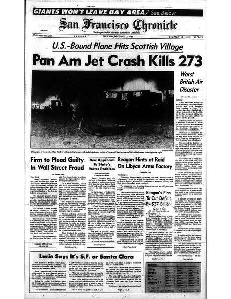 The Chronicle's front page from Dec. 22, 1988, covers the bombing of Pan Am Flight 103 above Lockerbie, Scotland. Photo: The Chronicle 1988