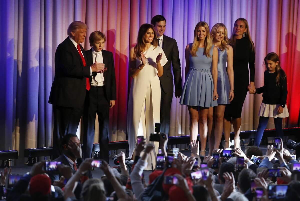 President-elect Donald Trump is joined by his family on stage to speak to supporters at his election night event at the New York Hilton Midtown in New York City on Nov. 9, 2016. Republican Donald Trump defeated Democrat Hillary Clinton to become the 45th President of the United States.