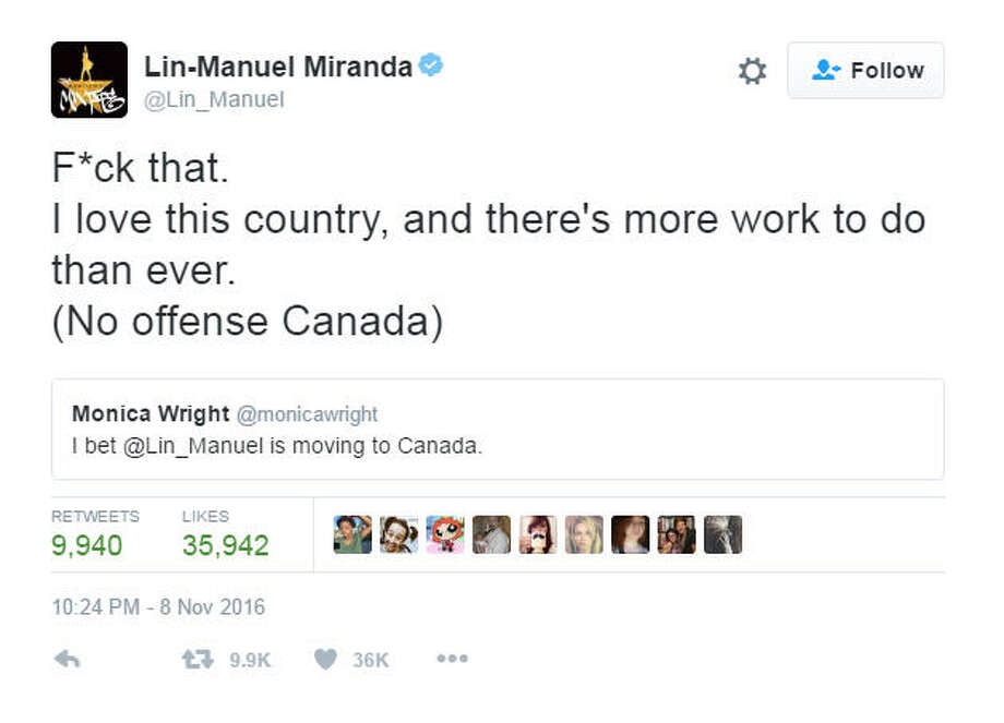 """""""F*ck that.  I love this country, and there's more work to do than ever.  (No offense Canada)""""Source: Twitter"""
