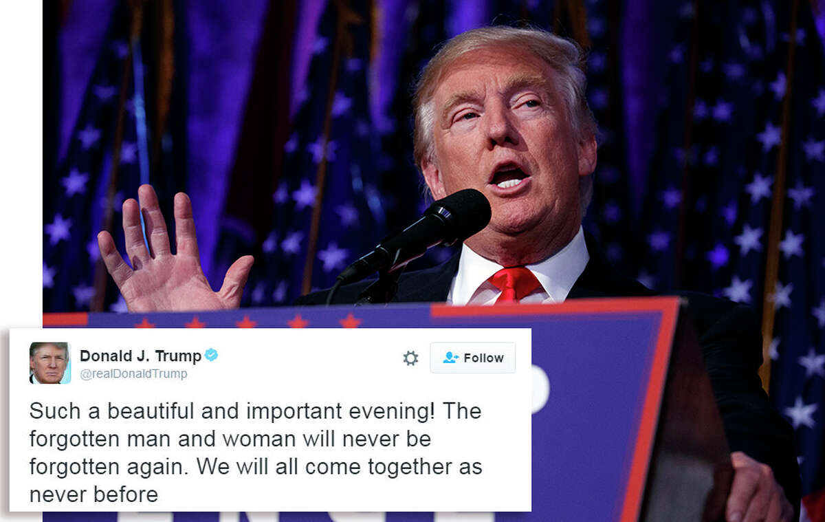 President-elect Donald Trump speaks during an election night rally, Wednesday, Nov. 9, 2016, in New York. Inset, his first tweet after being elected president. (AP Photo/ Evan Vucci)