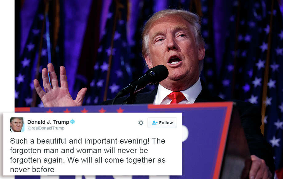 President-elect Donald Trump speaks during an election night rally, Wednesday, Nov. 9, 2016, in New York. Inset, his first tweet after being elected president. (AP Photo/ Evan Vucci) Photo: Evan Vucci/AP
