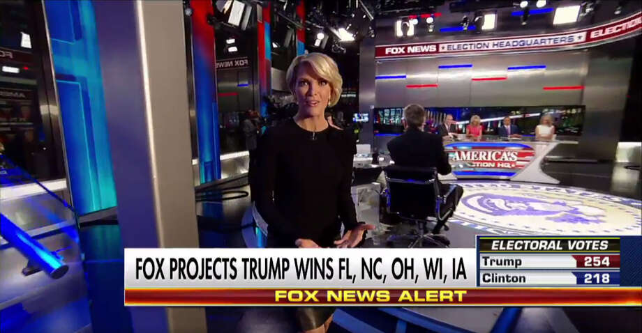 """FILE - A screenshot of a Fox News broadcast shows anchor Megyn Kelly during election night coverage on Nov. 8, 2016. Some social media users seem fixated on Kelly's appearance on live television, praising her hair style and comparing it to fictional character Claire Underwood of the hit Netflix series """"House of Cards."""""""