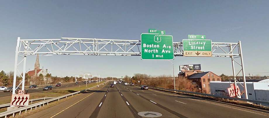 """This sign support on northbound Route 8/25 in Bridgeport will be replaced by the state Department of Transportation. """"The new sign supports are necessary because the old sign supports have reached the end of their life expectancy. The new supports will comply with the latest state and federal standards,"""" DOT says. Photo: Google Street View"""