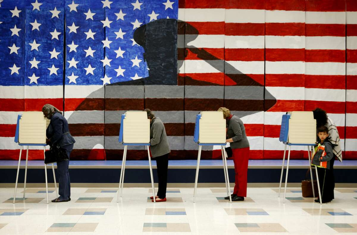 Voters line up in voting booths to cast their ballots at Robious Elementary School in Chesterfield, Va. on Tuesday Nov. 8, 2016. (Shelby Lum/Richmond Times-Dispatch via AP)