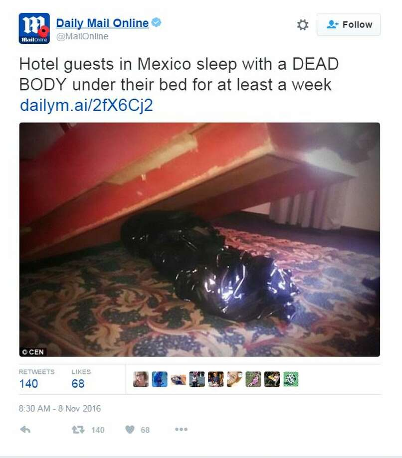 Guests at this Mexico City hotel did not know there was a dead body stuffed under the bed of one of the rooms.