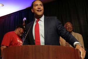 U.S. Rep. Will Hurd, R- Helotes running for Congress in District 23, talks with supporters as they watch the election results come in at the Eilan Hotel and Spa , on Tuesday Nov. 8, 2016.