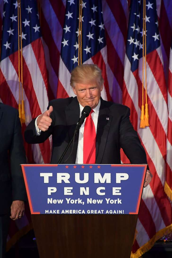 Republican presidential nominee Donald Trump gives a speech during election night at the New York Hilton Midtown in New York on November 8, 2016.  Republican presidential elect Donald Trump stunned America and the world November 9, riding a wave of populist resentment to defeat Hillary Clinton in the race to become the 45th president of the United States. / AFP PHOTO / JIM WATSONJIM WATSON/AFP/Getty Images