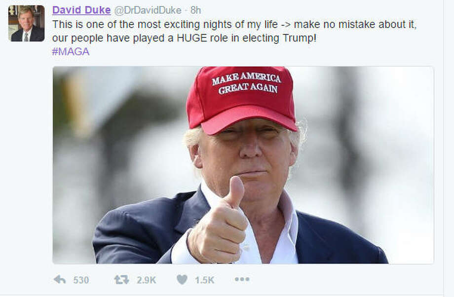 Donald Trump and former Kul Klux Klan and self-described Nazi David Duke have had a complicated relationship. But, Duke, a failed U.S. Senate candidate in Louisiana, wasted no time in taking to Twitter to claim some credit for Trump's victory. Click through to see who else on the alt-right cheered Trump's win. Photo: Twitter