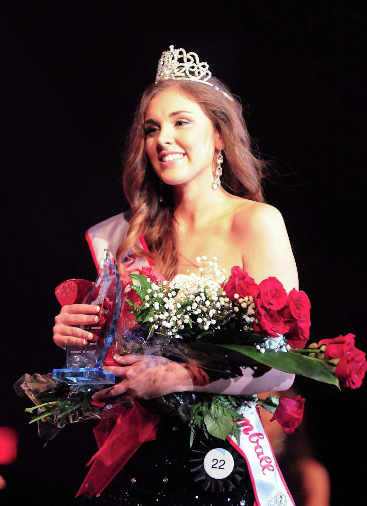 Julia Gimblet wears her new crown after being named Miss Tomball during The Miss Tomball 2015 Pageant at the Performing Arts Center at Salem Lutheran Church in Tomball. Almost a thousand spectators attended the event. Photograph by David Hopper