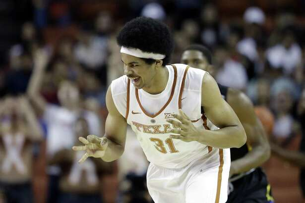 Texas' Jarrett Allen (31) celebrates a score during the first half of an exhibition game against Angelo State on Nov. 2, 2016, in Austin.