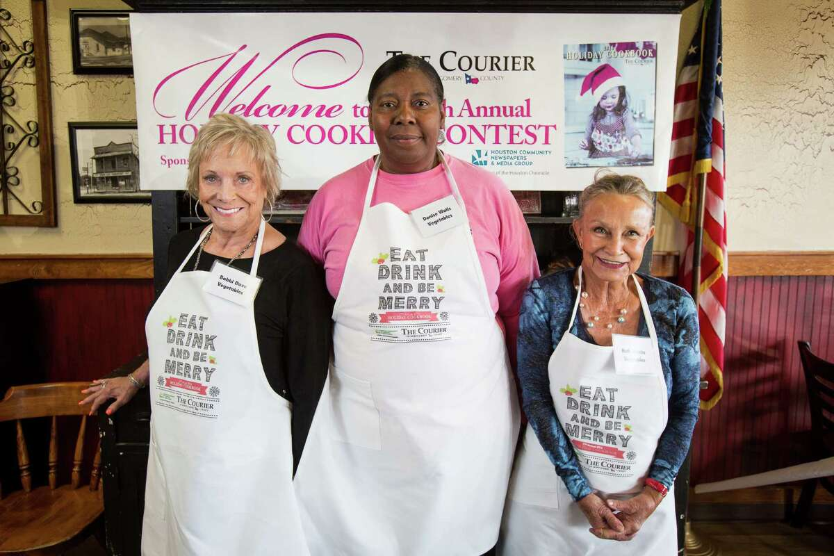 Vegetable contestants Bobbi Dove, Denise Walls and Ruth Vicchio pose for a photo on Oct. 29 at McKenzie's Barbeque in Conroe.