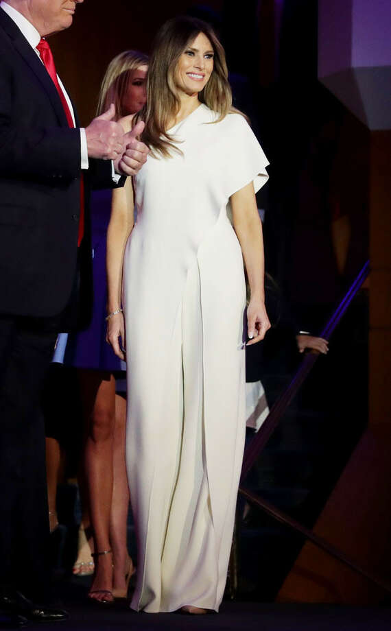 Melania Trump appears on election night wearing a white Ralph Lauren jumpsuit. Photo: Chip Somodevilla/Getty Images