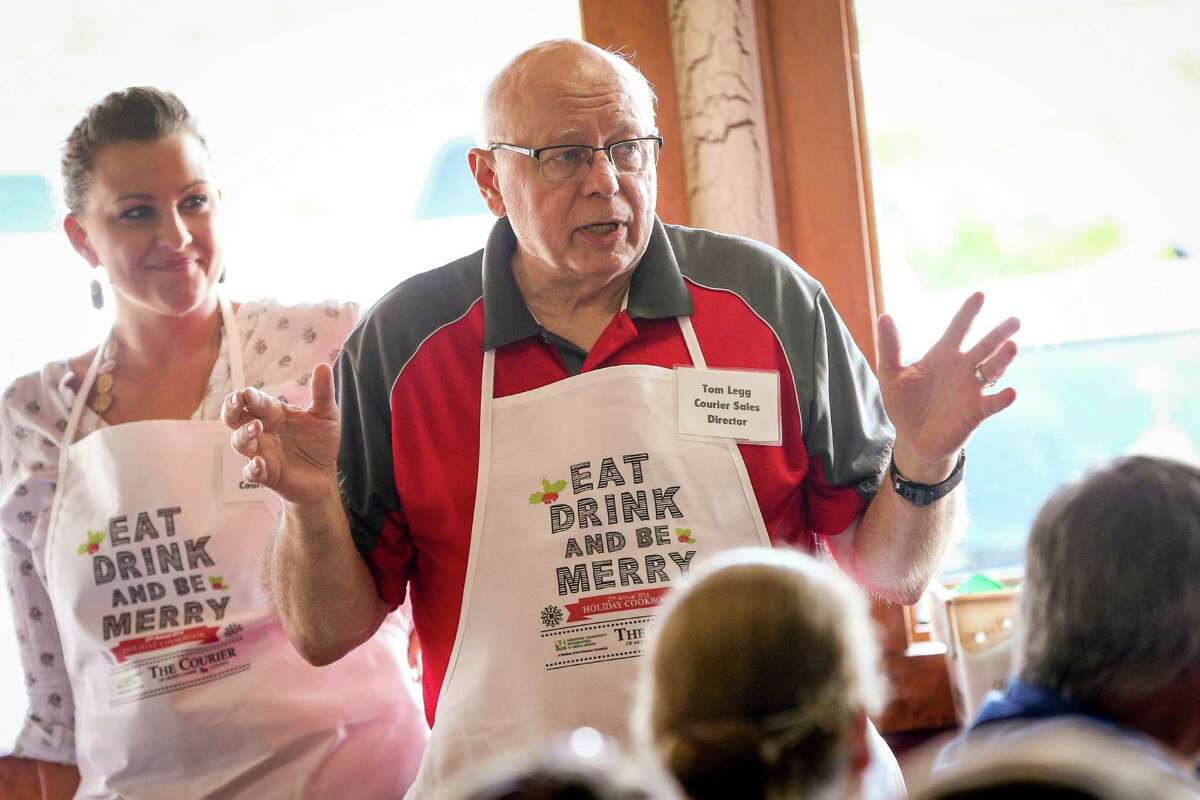 Courier Sales Director Tom Legg speaks during the 27th Annual Holiday Cooking Contest on Saturday, Oct. 29, 2016, at McKenzie's Barbeque in Conroe.