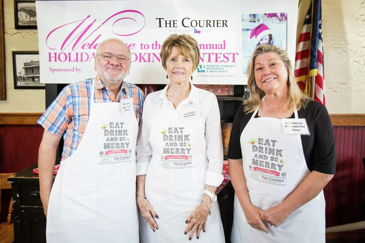 Judges Mark Hayter, Courier columnist, Linda Nuche, head judge and Bettie Hairston, 2015 grand prize winner, pose for a photo on Saturday, Oct. 29, 2016, at McKenzie's Barbeque in Conroe.