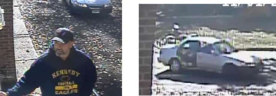 A suspect in an attempted burglary in Stratford, and his vehicle Photo: Stratford Police