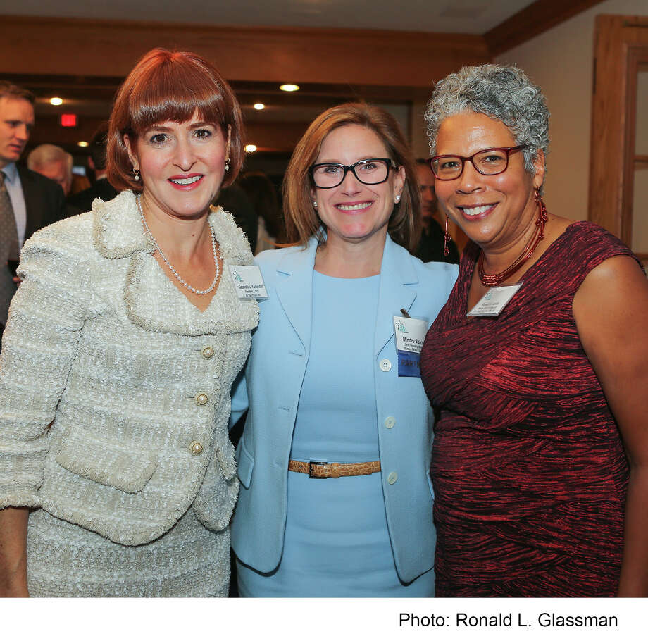 "(Left to Right) Gabrielle L. Kurlander (President & Chief Executive Officer, All Stars Project, Inc.), Mindee Blanco (Chief Operating Officer, Barnum Financial Group), and Pamela A. Lewis (Director, All Stars Project of Bridgeport and Vice President/Youth Programs, All Stars Project, Inc.) November 7, 2016 at ""Building Bridges Across Connecticut"". The 3rd annual Fall Benefit Dinner for the All Stars Project of Bridgeport raised $165,000 to benefit the Afterschool Development programs of the All Stars Project of Bridgeport, which has engaged over 4,000 young people and their families since its launch in 2014. Mindee Blanco was recognized by 200 guests in attendance for her work with the Development School for Youth (DSY), an innovative afterschool program where young people ages 16 to 21 learn to perform as professionals, and they partner with business leaders who conduct development workshops and provide paid summer internships at their companies. Barnum Financial Group (Shelton, CT) has sponsored five DSY interns since the program's Connecticut launch in 2015. The mission of the All Stars Project is to transform the lives of youth and poor communities using the developmental power of performance, in partnership with caring adults. Photo: Ronald L. Glassman/Photo: Ronald L. Glassman"