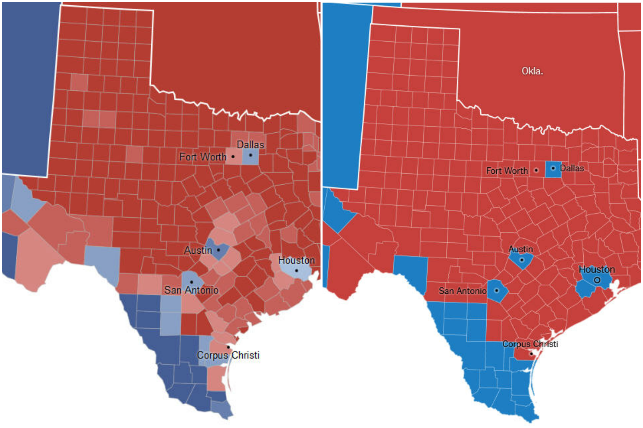 Texas Election Map Map comparison: Texas' 2012 election results versus 2016 election