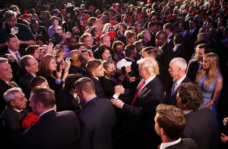NEW YORK, NY - NOVEMBER 09:  Republican president-elect Donald Trump greets people in the crowd after delivering his acceptance speech at the New York Hilton Midtown in the early morning hours of November 9, 2016 in New York City. Donald Trump defeated Democratic presidential nominee Hillary Clinton to become the 45th president of the United States.  (Photo by Chip Somodevilla/Getty Images)