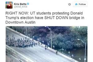 @ KrisB_KVUE : RIGHT NOW: UT students protesting Donald Trump's election have SHUT DOWN bridge in Downtown Austin