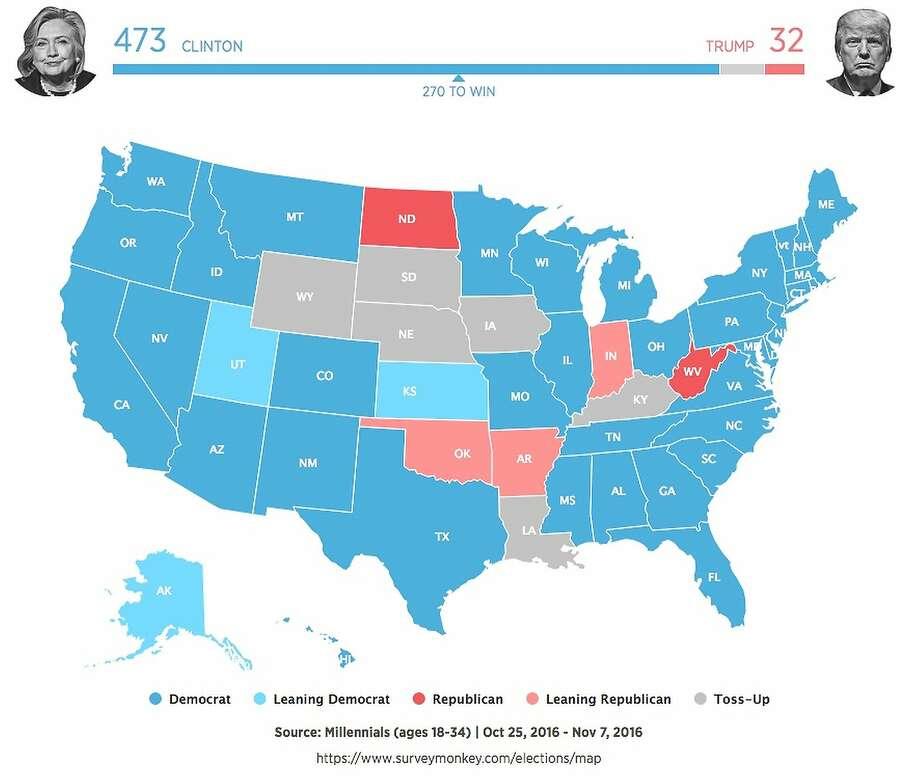 Millennial electoral map Photo: SurveyMonkey