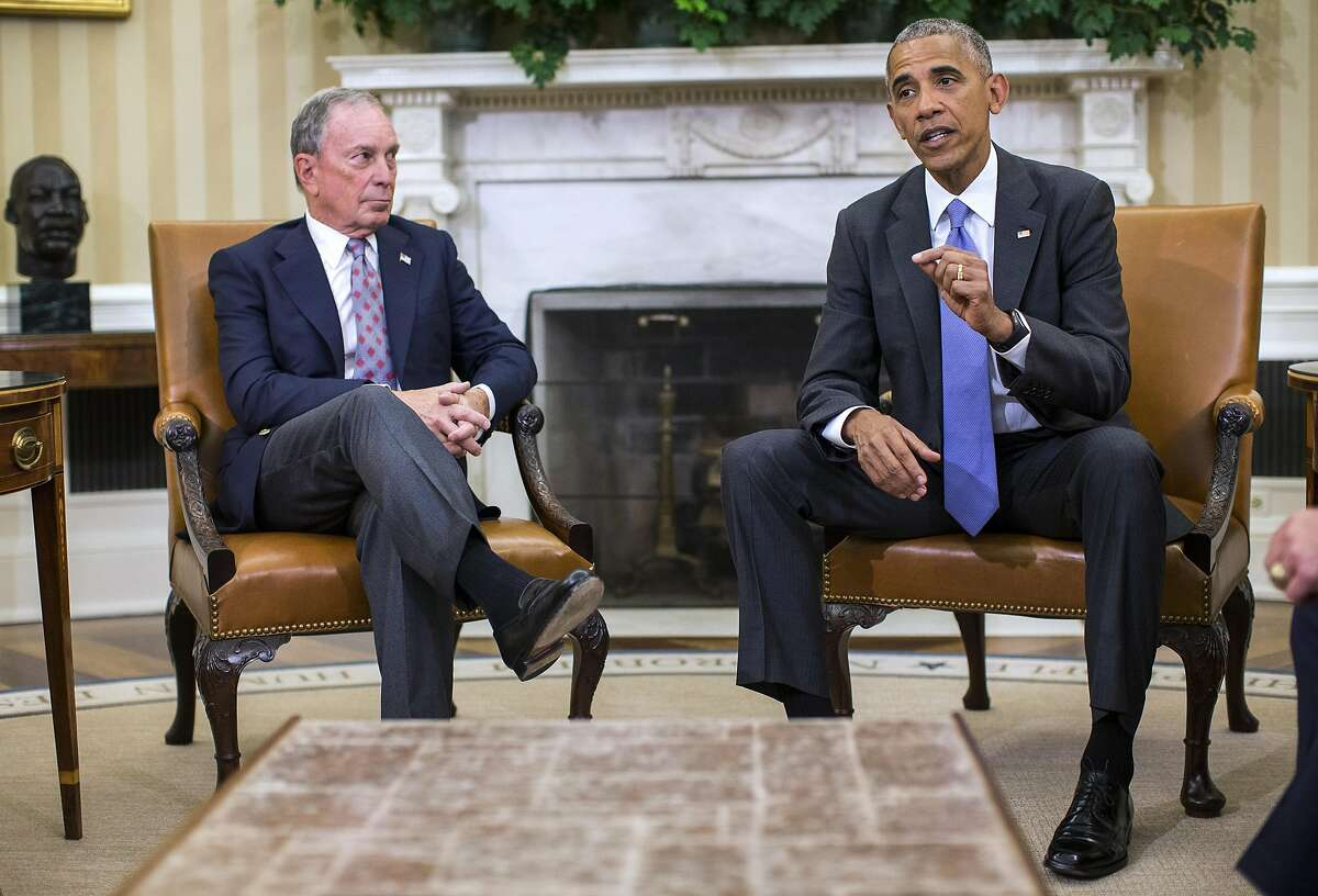FILE-- President Barack Obama, with former New York City Mayor Michael Bloomberg, delivers remarks on the Trans-Pacific Trade Partnership in the Oval Office, Washington, Sept. 16, 2016. While both major-party presidential candidates oppose the partnership, polls continue to show that Americans either narrowly favor international trade generally, and the so-called TPP specifically, or are split. (Al Drago/The New York Times)