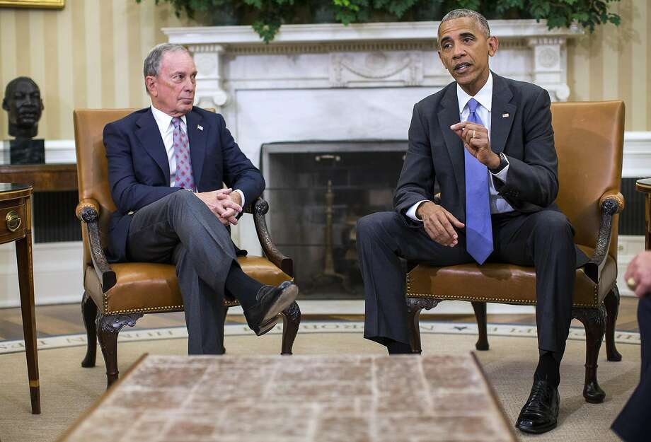 President Obama discusses the Trans-Pacific Trade Partnership with former New York City Mayor Michael Bloomberg in September. Photo: AL DRAGO, NYT