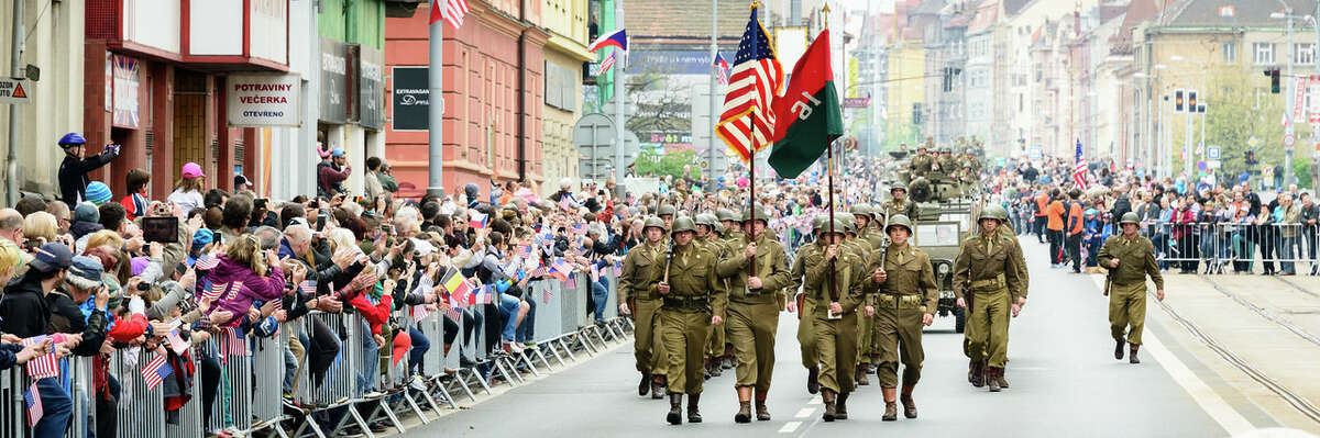 Thousands of people line the streets of Pilsen in the Czech Republic to witness the Convoy of Liberty during the 2015 Liberation Festival celebrating the U.S. Army liberating Pilsen from Nazi occupation May, 6, 1945.