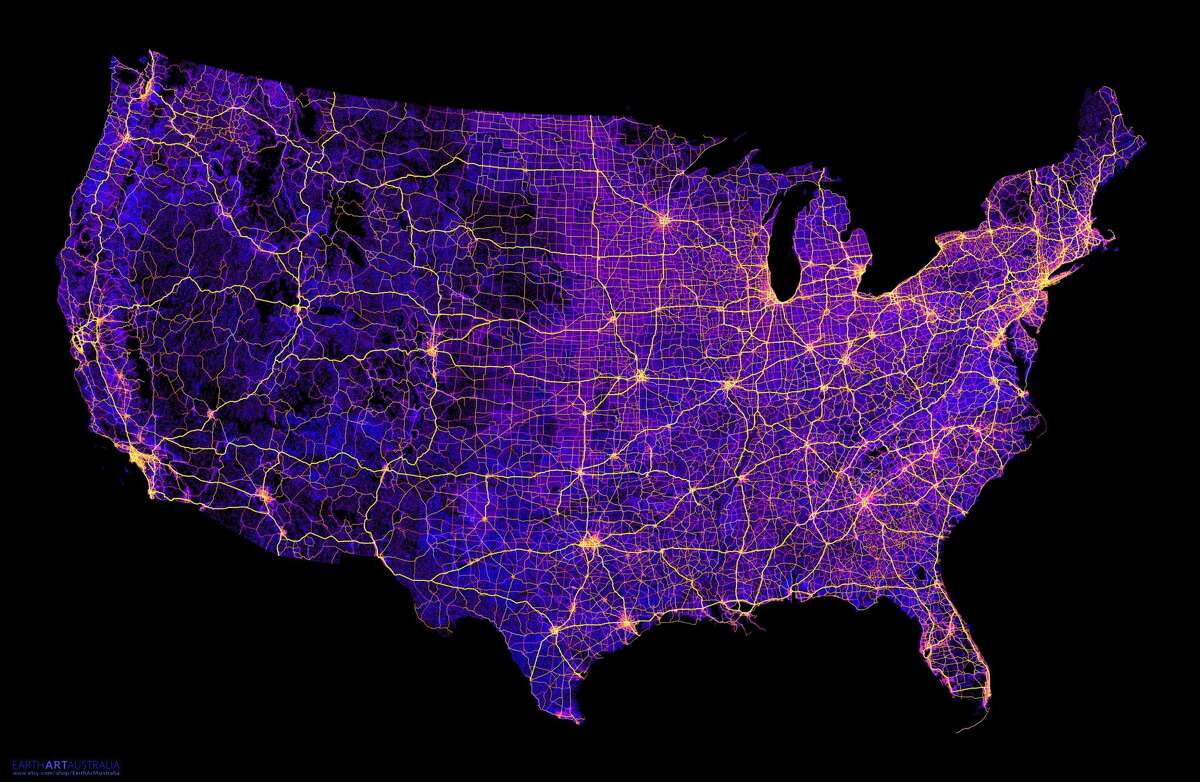 Robbi Bishop-Taylor, a doctoral student in geography at the University of New South Wales in Sydney, Australia, creates colorful maps of roadways using open-source online data sets. This map, created in October 2016, shows about 8 million miles of roads, streets and highways in the continental United States.