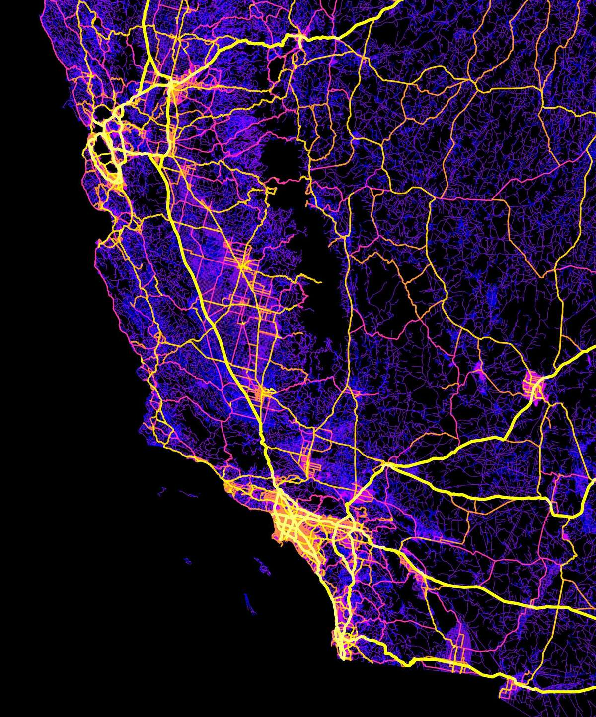 Robbi Bishop-Taylor, a doctoral student in geography at the University of New South Wales in Sydney, Australia, creates colorful maps of roadways using open-source online data sets.This map, created in October 2016, shows roads of Los Angeles, San Francisco, San Diego, Las Vegas and the southwest United States.