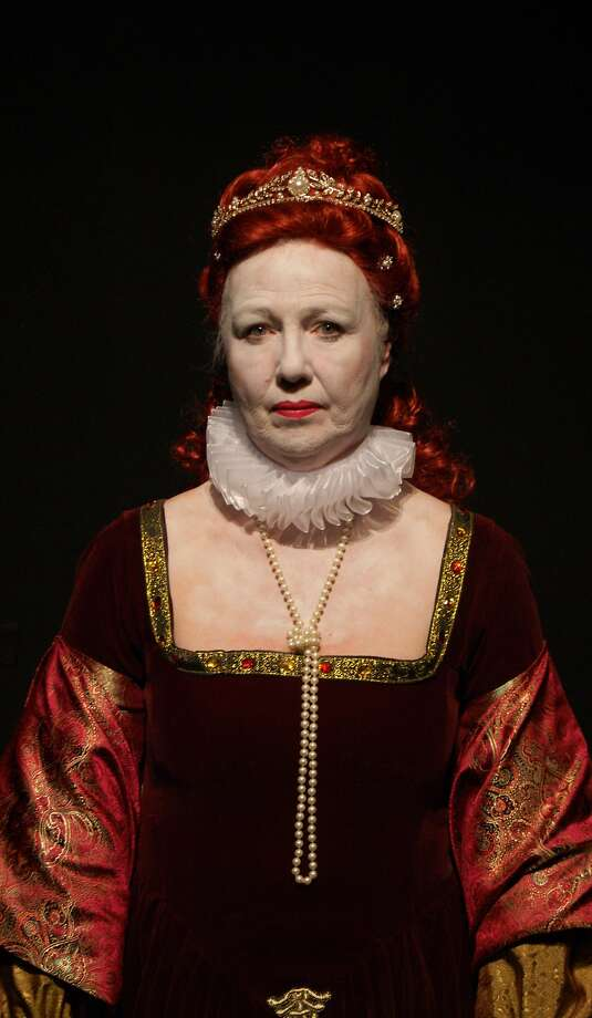 """Christina Augello as Queen Elizabeth I in the American premiere of """"Paradise Street"""" at the Exit Theatre. Photo: Cody Rishell, Exit Theatre"""