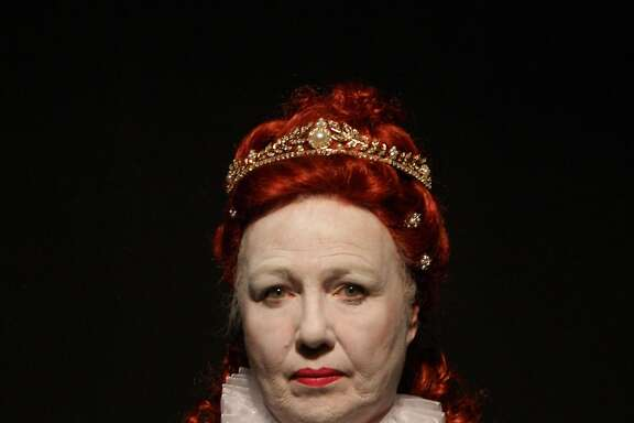Christina Augello as Queen Elizabeth I in the American premiere of �Paradise Street� at the Exit Theatre.
