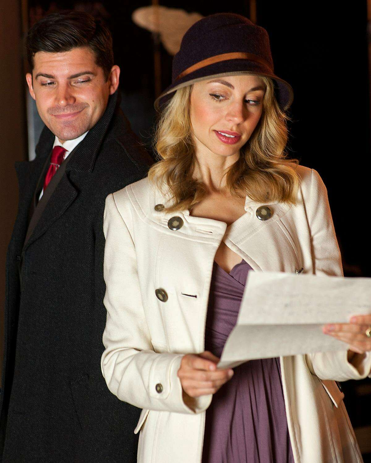 Georg (Jeffrey Brian Adams) and Amalia (Monique Hafen) are amorous and anonymous pen pals in SF Playhouse�s �She Loves Me.�