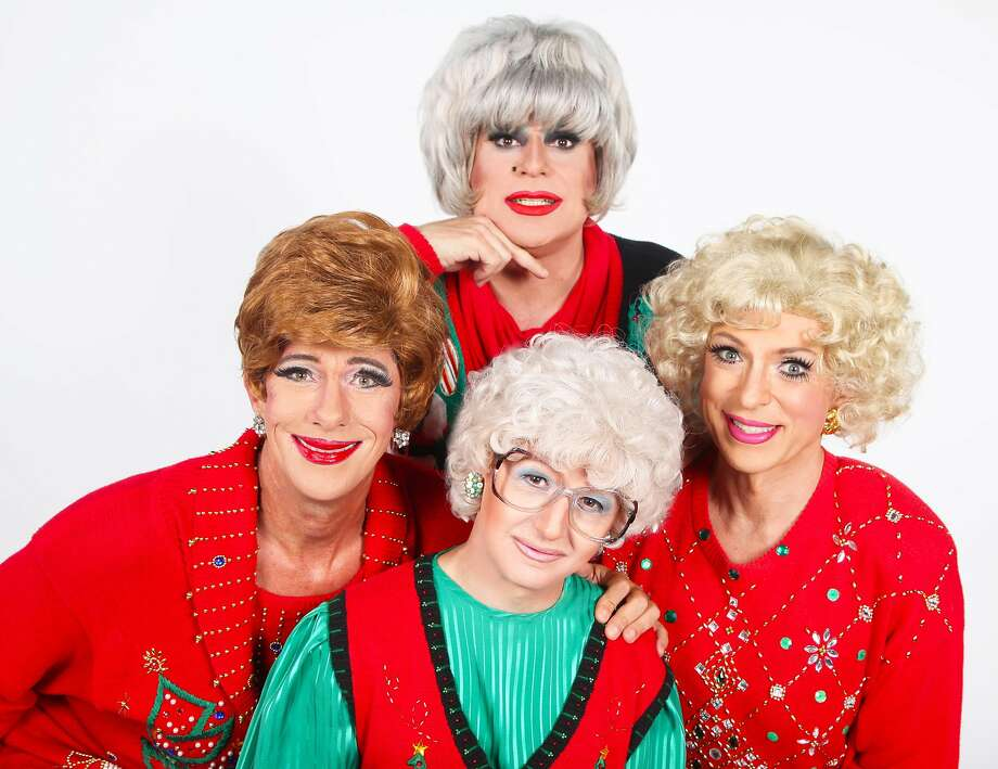 """""""The Golden Girls: The Christmas Episodes"""" stars, clockwise from left: Matthew Martin as Blanche, Heklina as Dorothy, Hollotta Tymes as Sophia and D'Arcy Drollinger as Rose. Photo: Mr. Pam"""