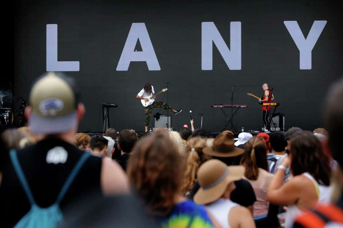 Paul Klein, (center) and Les Priest of the Band LANY perform during day one of the Outside Lands music Festival in Golden Gate Park in San Francisco, California, on Fri. Aug. 5, 2016.