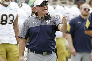 Notre Dame coach Brian Kelly shouts to his players during the second half against Navy on Nov. 5, 2016, in Jacksonville, Fla.