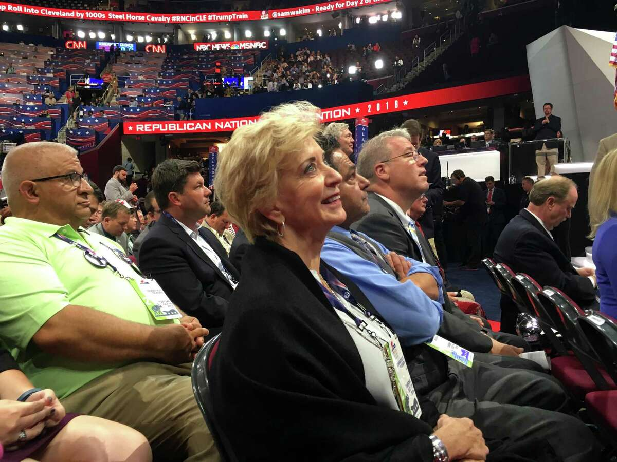 Former WWE chief executive officer Linda McMahon, a Trump delegate from Greenwich, Conn. watches the roll call of delegates on the floor of the GOP convention in Cleveland, OH on Tuesday, July 19, 2016.