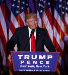 President-elect Donald Trump addresses the country after winning the election, around  3 a.m. in New York, Nov. 9, 2016. Trump said that he had received a phone call of congratulations from Hillary Clinton. (Eric Thayer/The New York Times)