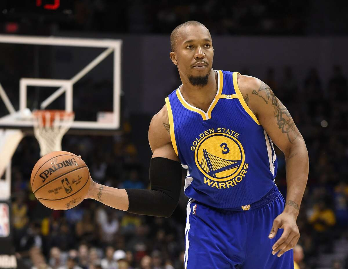 """In this Oct. 19, 2016 photo, Golden State Warriors forward David West (3) plays during an NBA preseason basketball game against the Los Angeles Lakers in San Diego. West is disgusted with America. Disgusted with the choice of Donald Trump for President. """"The guy who got elected, it's not just the fact he got elected but people voted for him. That�s the disheartening thing"""" West said after a shootaround Wednesday, Nov. 9, 2016. (AP Photo/Denis Poroy)"""