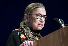 FILE - In this Jan. 28, 2016 file photo, Supreme Court Justice Ruth Bader Ginsburg speaks at Brandeis University in Waltham, Mass. Ginsburg is calling the protests of football players who decline to stand for the national anthem �dumb and disrespectful.�  In a wide-ranging interview posted OCT. 10 on Yahoo, Ginsburg said she had the same opinion about flag burning. �I think it�s a terrible thing to do, but I wouldn�t lock a person up for doing it,� she said. �I would point out how ridiculous it seems to me to do such an act.� (AP Photo/Michael Dwyer, File)