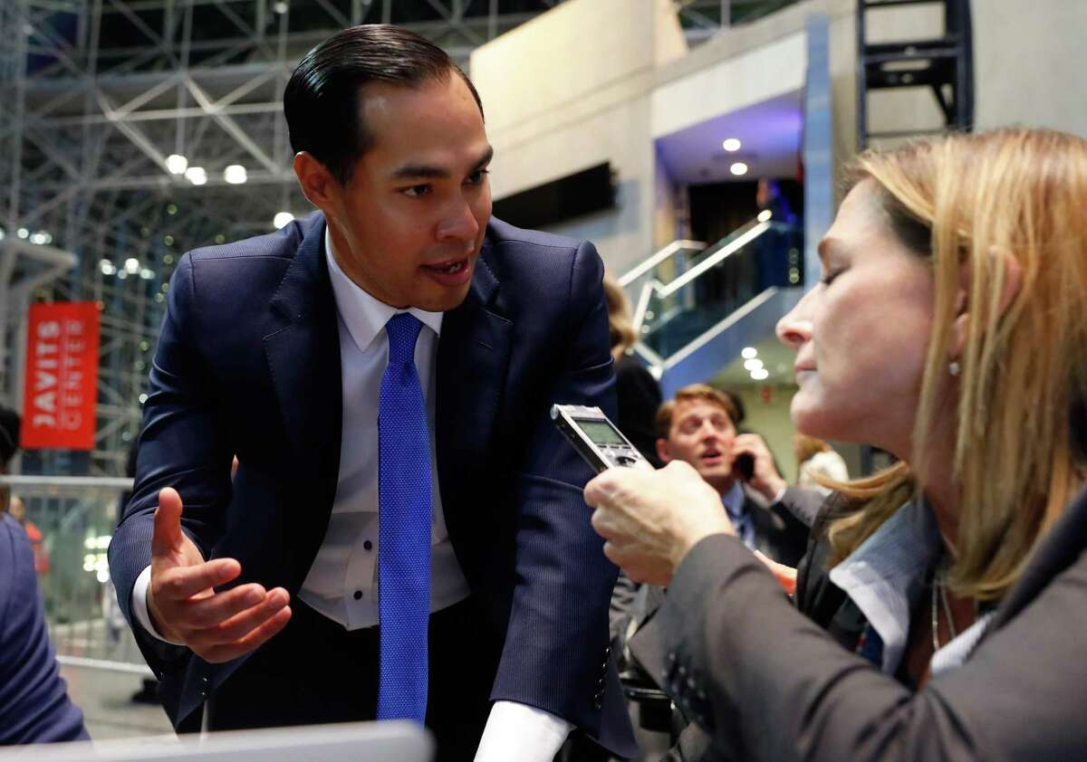 NEW YORK, NY - NOVEMBER 09: Secretary of Housing and Urban Development Julian Castro gives an interview at Democratic presidential nominee former Secretary of State Hillary Clinton's election night event at the Jacob K. Javits Convention Center November 9, 2016 in New York City. Clinton is running against Republican nominee, Donald J. Trump to be the 45th President of the United States. (Photo by Aaron P. Bernstein/Getty Images)