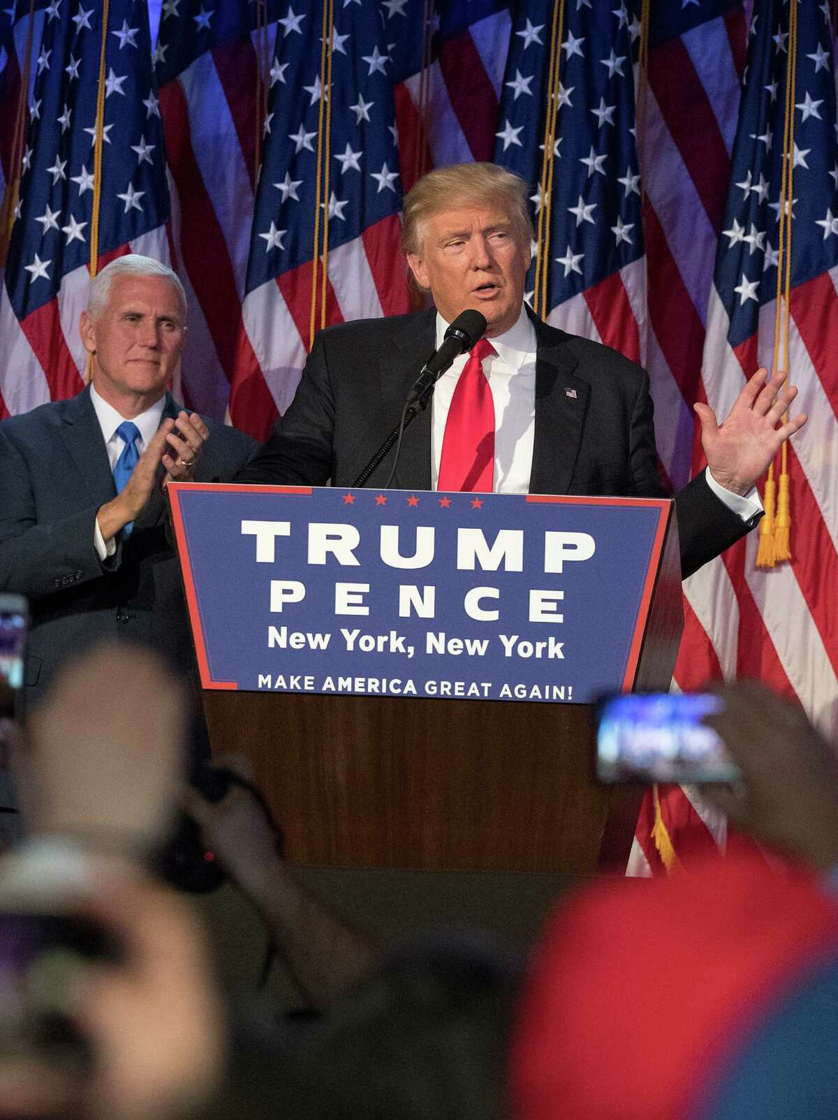 President-elect Donald J. Donald Trump speaks to supporters after winning the election on Wednesday.