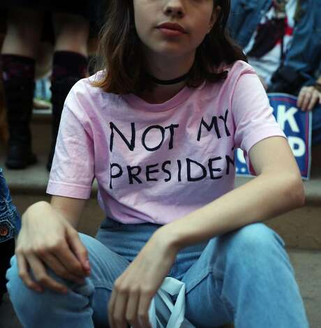 "Kat Golde of San Francisco wears a homemade ""Not My President"" t-shirt before an anti Donald Trump protest in Oakland, Calif., on Wednesday, November 9, 2016. Photo: Scott Strazzante, The Chronicle"