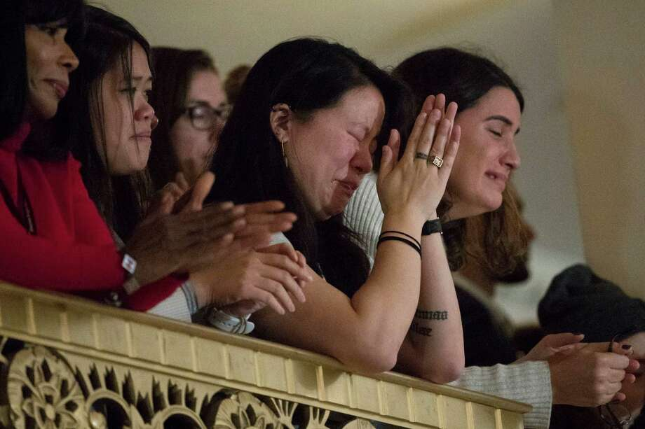 Audience members listen as Democratic presidential candidate Hillary Clinton speaks in New York on Wednesday, where she conceded her defeat to Republican Donald Trump after the hard-fought presidential election. Many Clinton female supporters lamented the lost opportunity and Trump's treatment of women. Photo: Matt Rourke, STF / Copyright 2016 The Associated Press. All rights reserved.