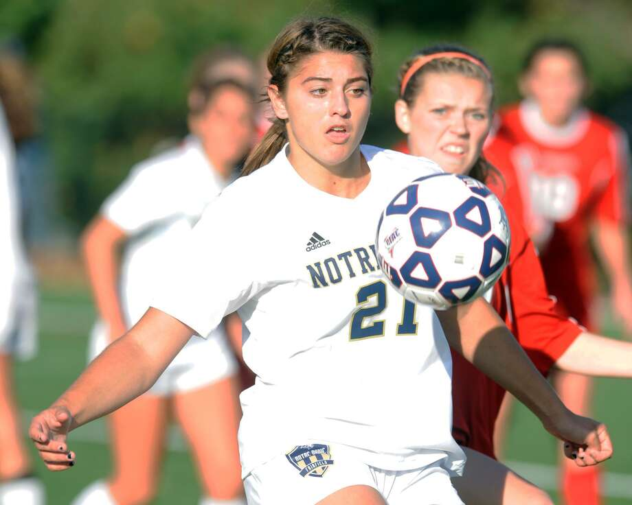Notre Dame-Fairfield's Samantha LaValle scored four second-half goals in a 4-1 defeat of East Catholic on Wednesday. Photo: Ned Gerard / Hearst Connecticut Media / Connecticut Post