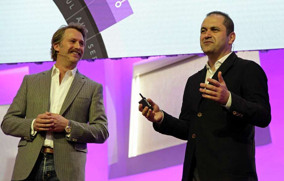 Brogan BamBrogan (L), co-founder and CTO, and Shervin Pishevar (R), co-founder and Executive Chairmanm at Hyperloop One, talk about the future of transportation during a press conference May 10, 2016 in Las Vegas, Nevada.  The Hyperloop One startup intent on zipping people along at near-supersonic speeds in pressurized tubes announced that the French national rail company had joined its growing list of backers. Hyperloop One said that it closed an $80 million round of  second round of financing with funding coming an array of investors, including GE Ventures and France's SNCF.  / AFP PHOTO / John GURZINSKIJOHN GURZINSKI/AFP/Getty Images Photo: JOHN GURZINSKI, Stringer / AFP or licensors
