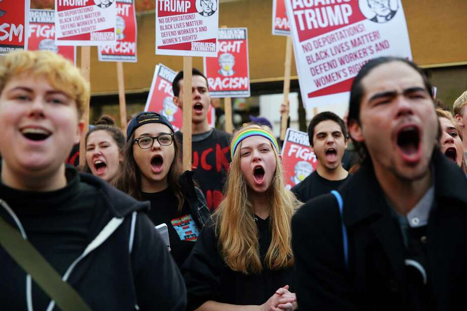 Anti-Donald Trump protesters gather at Westlake Park for a post-election rally and march, Wednesday evening, Nov. 9, 2016. Photo: GENNA MARTIN, SEATTLEPI.COM / SEATTLEPI.COM