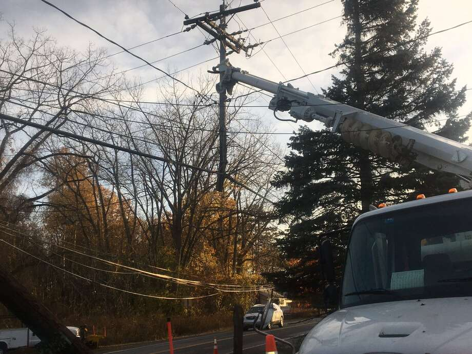 An overnight accident on Nov. 10, 2016, on Route 155 and Old Niskayuna Road in Colonie cut a utility pole in half. (Larry Rulison/Times Union)