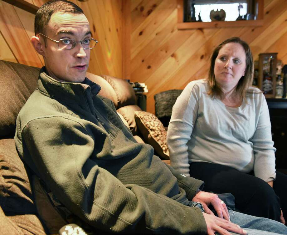 Heart patient Courtney Rosencrans, left, 37, and his wife Jenn discuss the hardships of being on a waiting list for a heart transplant during an interview Wednesday Nov. 9, 2016 in Albany, NY.  (John Carl D'Annibale / Times Union) Photo: John Carl D'Annibale / 20038734A