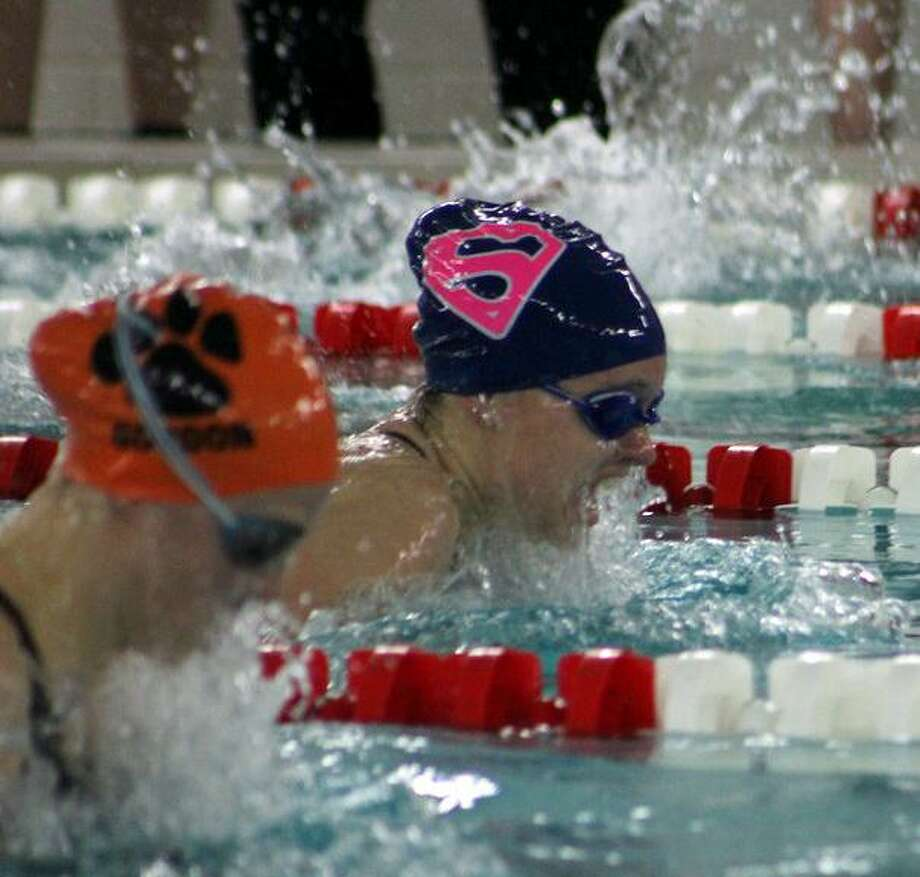 Staples junior Willow Woods finished in second in the 100 breaststroke at the FCIAC championships last week. Photo: Contributed / Photo